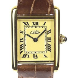 Cartier Must Tank Gold Plated 925 Sterling Silver and Leather Quartz 19mm Womens Watch