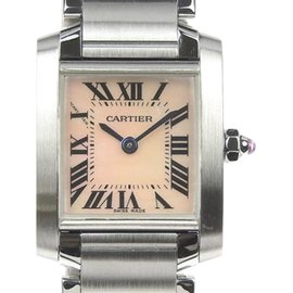 Cartier Tank Francaise 2384 Stainless Steel with Pink Shell Dial Quartz 20mm Womens Watch