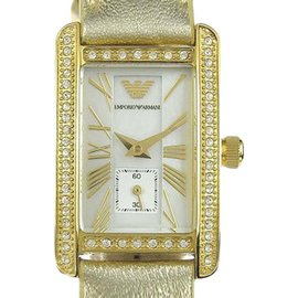 Emporio Armani AR-0189 Gold Tone Stainless Steel & Leather Shell Dial Quartz 19mm Womens Watch