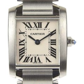 Cartier Tank Francaise 2384 Stainless Steel Quartz Ivory Dial 19mm Womens Watch