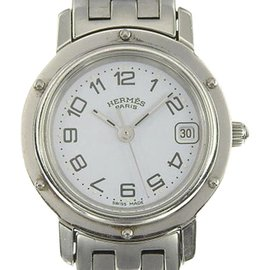 Hermes Clipper CL4.210 Stainless Steel Quartz White Dial 23mm Womens Watch