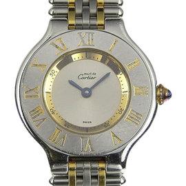 Cartier Must 21 1340 Stainless Steel & Gold Plated Quartz 28mm Womens Watch
