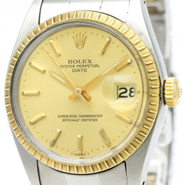 Rolex Oyster Perpetual Date 1505 Stainless Steel and 18K Yellow Gold 35mm Mens Watch