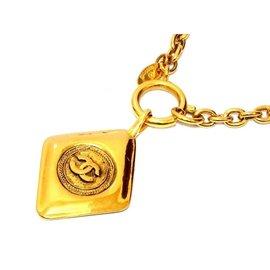 Chanel Gold Tone Hardware Coco Mark Matrasse Vintage Necklace