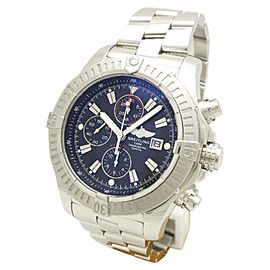 Breitling Super Avenger A13370 Stainless Steel Black Dial Automatic 48mm Mens Watch