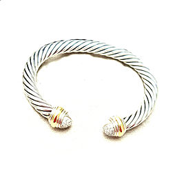 David Yurman 7mm Sterling Silver Yellow Gold Diamond Bracelet