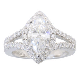 14K White Gold GIA Certified 1.51CTW Marquise Cut Diamond Ring