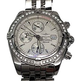 Breitling Super Avenger A13370 Stainless Steel & Diamonds Mens Watch