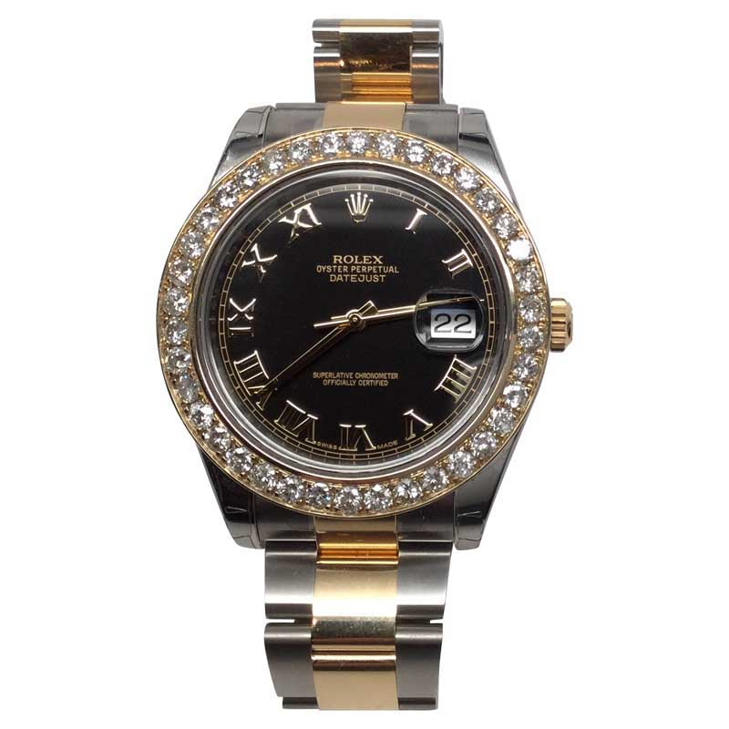 "Image of ""Rolex Datejust II Black Dial Stainless Steel & 18K Yellow Gold Oyster"""
