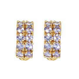 14k Yellow Gold Tanzanite Huggie Earrings