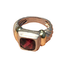 David Yurman Noblesse Garnet Ring 925 Sterling Silver 14k Gold Classic Cable