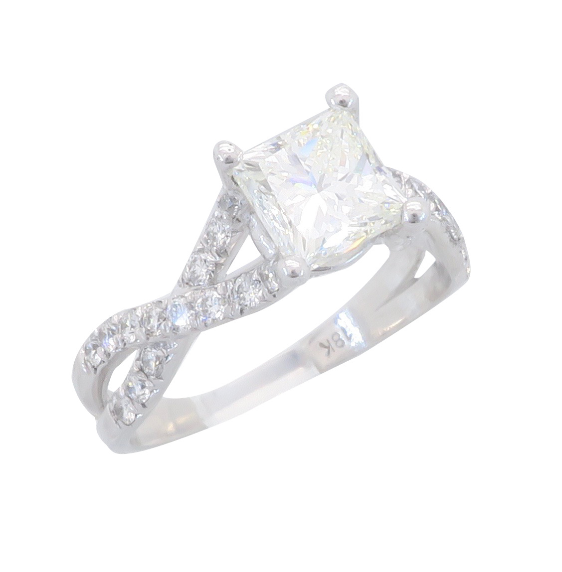 "Image of ""Verragio 18K White Gold 1.73Ctw Princess Cut Diamond Ring"""