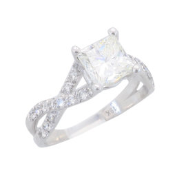 Verragio 18K White Gold 1.73CTW Princess Cut Diamond Ring
