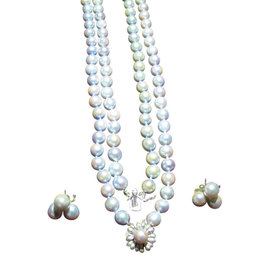 Baroque 14K White Gold Cultured Pearl Necklace And Earrings