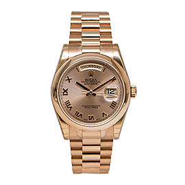 Rolex Day-Date Pink Dial Automatic 18K Everose Gold Ladies Watch