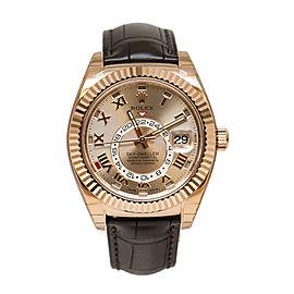 Rolex Sky-Dweller 326135 SNRL Sundust Dial 18K Everose Gold Automatic Men's Watch