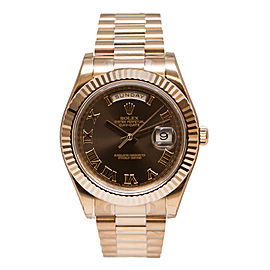 Rolex Day-Date II 218235 BRRP President Rose Gold Fluted Bezel Watch