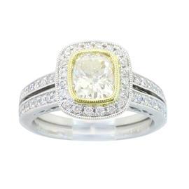 Sylvie 18K White Gold Light Yellow Cushion Cut 1.19CTW Diamond Ring