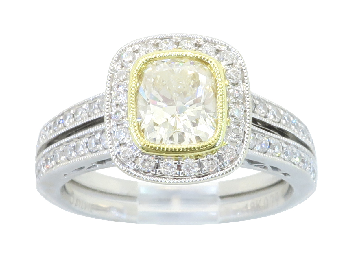 "Image of ""Sylvie 18K White Gold Light Yellow Cushion Cut 1.19Ctw Diamond Ring"""