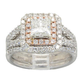 14K White and Rose Gold Radiant Star Cut Diamond Ring