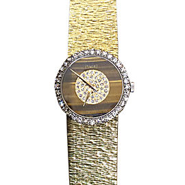 Rare Piaget 18K Yellow Gold Tiger Eye Diamond Bezel Lady's Wrist Watch