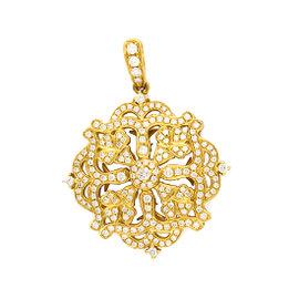 Charles Krypell 18K Yellow Gold Diamond Filigree Pendant