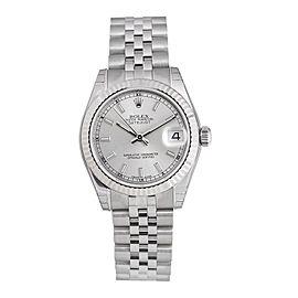 Rolex Datejust 178274SSJ Silver Dial 18k White Gold Fluted Bezel Watch