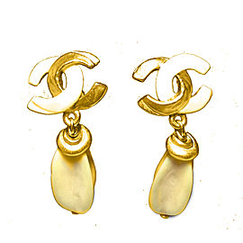 Chanel Gold Tone and Ivory Clip on Earrings