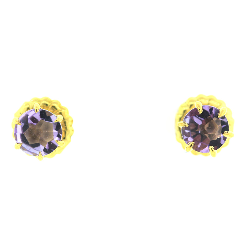 "Image of ""Ippolita 18K Gold Rock Candy Amethyst Round Stud Earrings"""