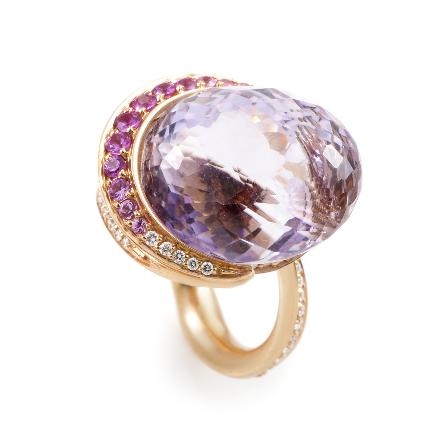 "Image of ""lo Si 18K Rose Gold Amethyst and Gemstone Ring"""