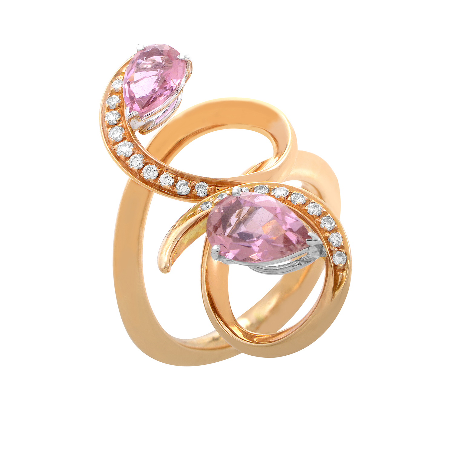 "Image of ""lo Si 18K Rose Gold Pink Sapphire and Diamond Ring"""