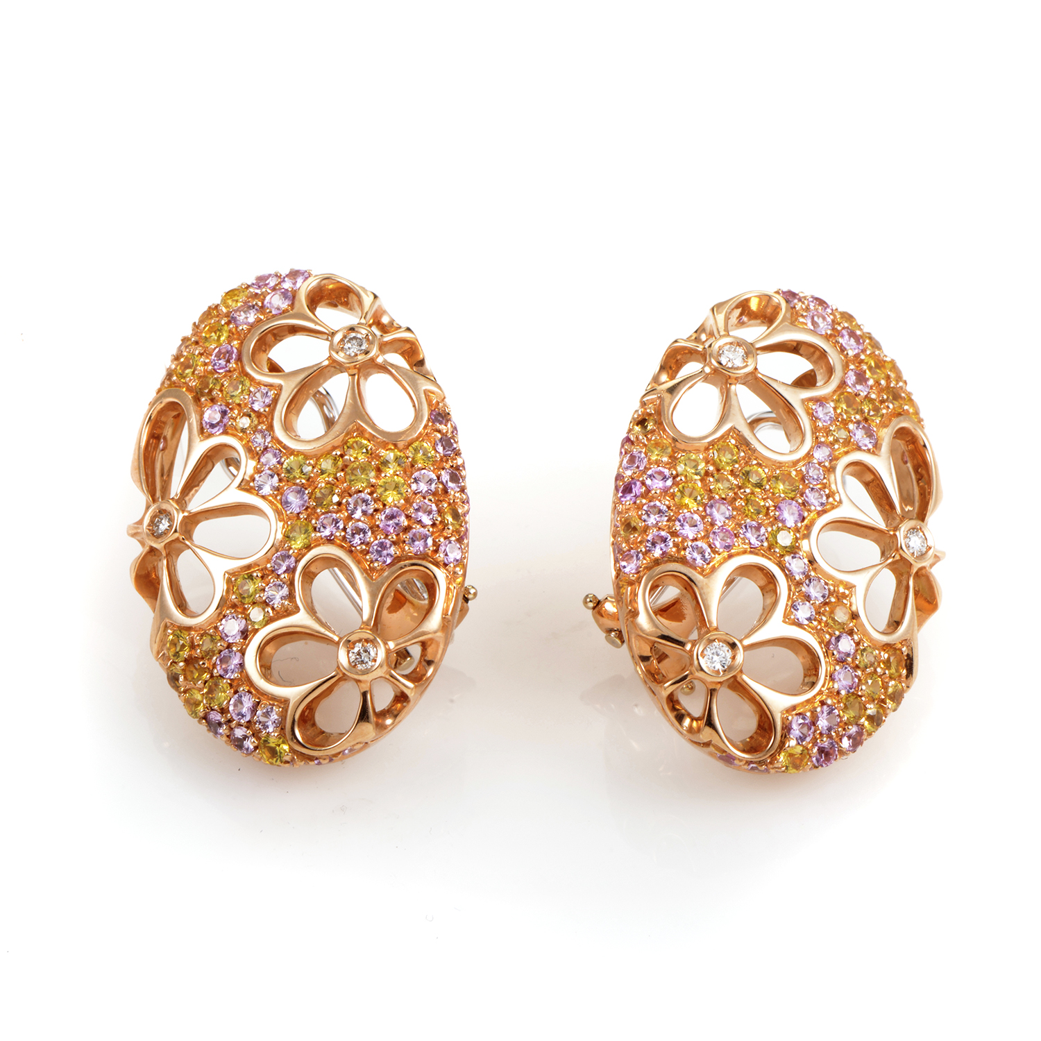 "Image of ""Io Si 18K Rose Gold Multi-Sapphire and Diamond Huggie Earrings"""