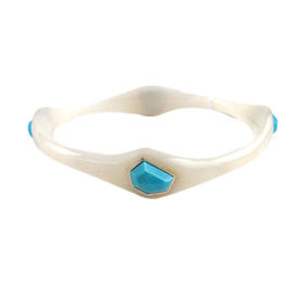 IPPOLITA Frosted White Resin and Turquoise 4 Stoned Silver Bangle