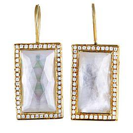 Ippolita 18K Yellow Gold Diamond and Mother of Pearl Rectangular Earrings