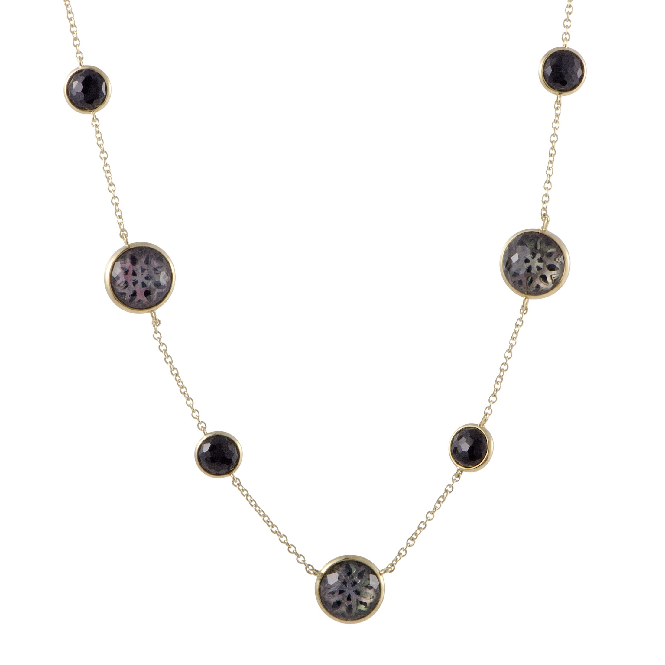 "Image of ""Ippolita 18K Yellow Gold Quartz Onyx and Mother of Pearl Necklace"""