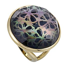 Ippolita Rock Candy 18K Yellow Gold Quartz Mother of Pearl and Onyx Ring Size 7.5