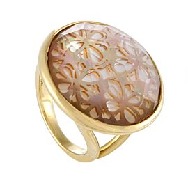 Ippolita Rock Candy 18K Yellow Gold Quartz and Mother of Pearl Ring Size 7.5
