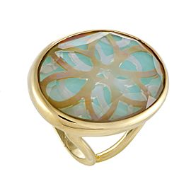 Ippolita Rock Candy 18K Yellow Gold Quartz Mother of Pearl and Turquoise Ring Size 8