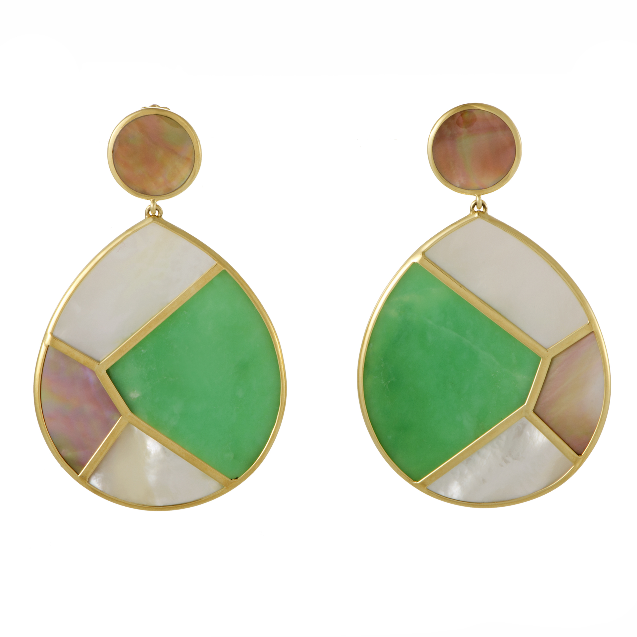 """Image of """"Ippolita 18K Yellow Gold Jade and Mother of Pearl Earrings"""""""