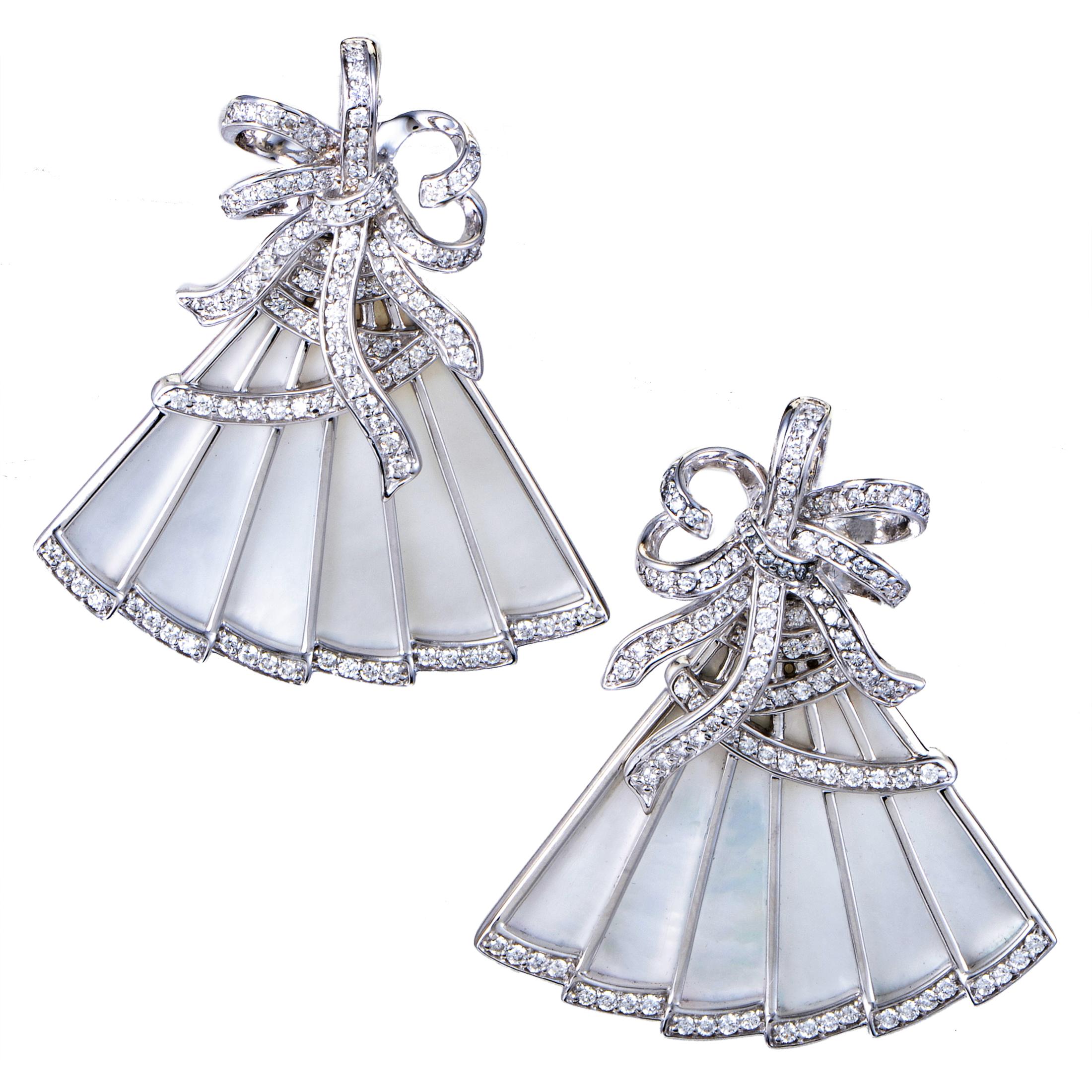 """Image of """"Ivanka Trump 18K White Gold Diamond & Mother of Pearl Fan Earrings"""""""