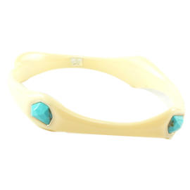 IPPOLITA Ivory Resin Sterling Silver Turquoise Stone Bangle Bracelet