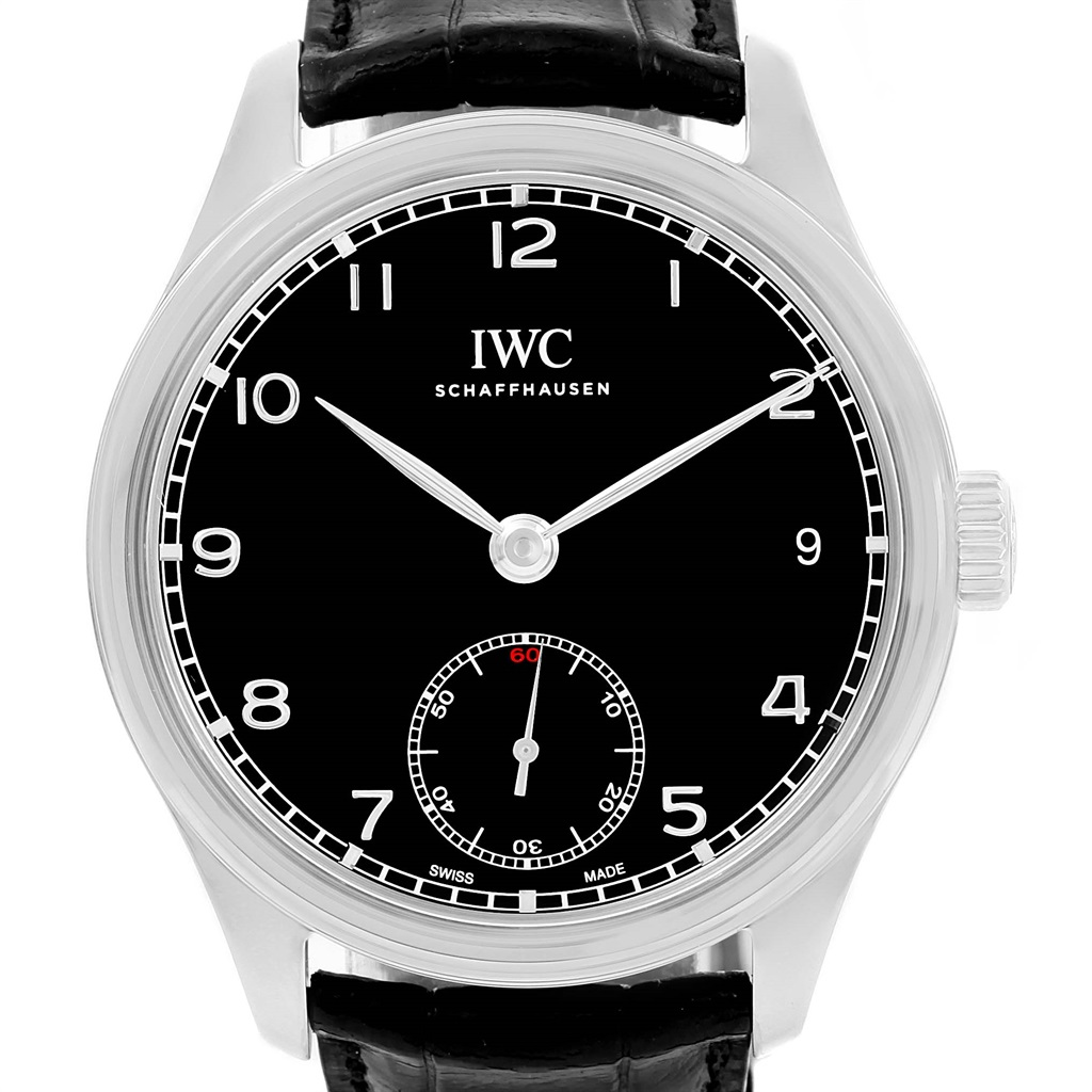 """Image of """"IWC Portuguese Iw510202 Stainless Steel Black Dial 43mm Mens Watch"""""""