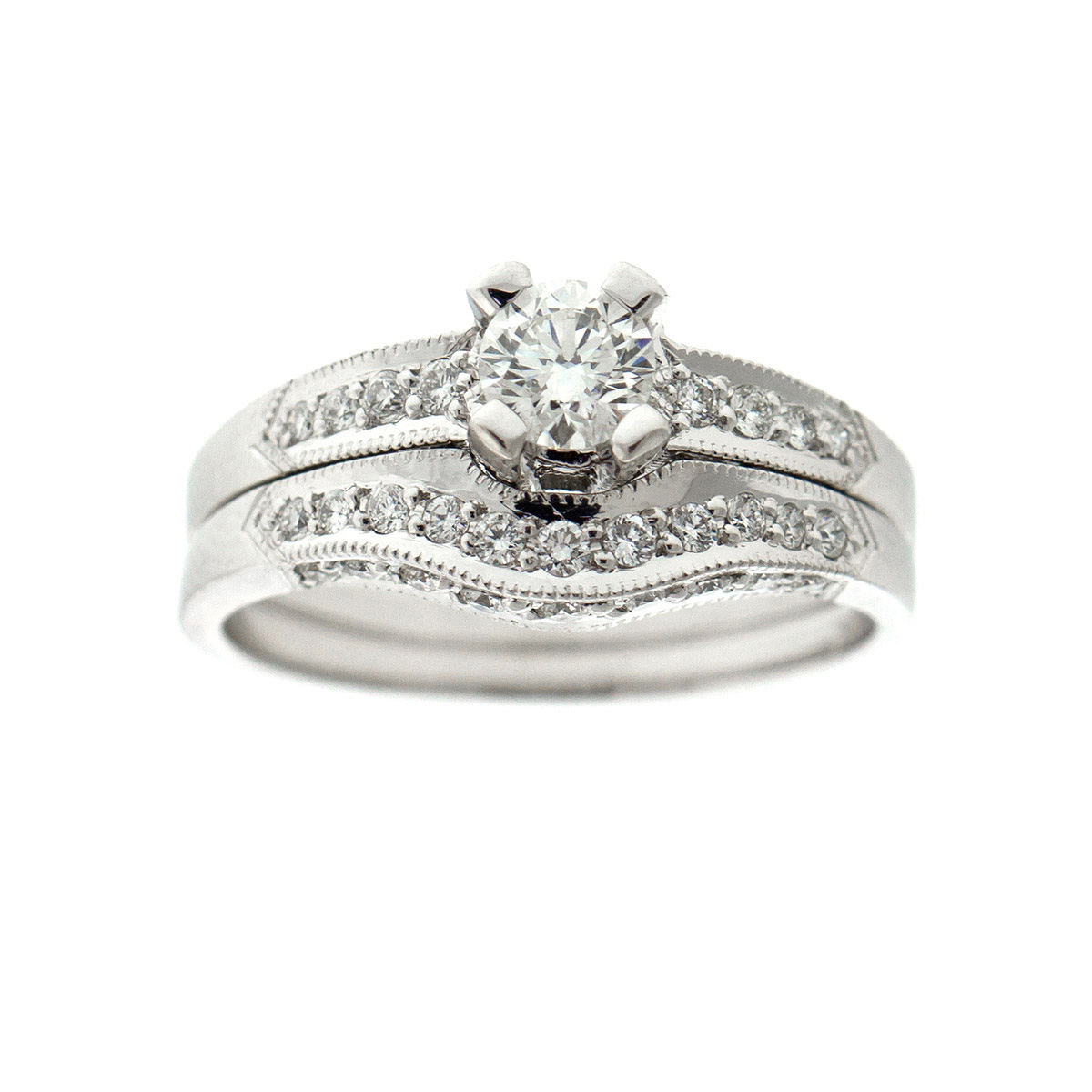 "Image of ""Tacori 18kwg Diamond Engagement Ring and Diamond Band Ring Set"""