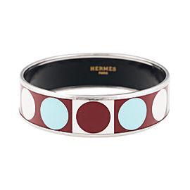 Hermes Wide Brown Turquoise and White Enamel Bracelet
