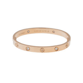 Cartier Love B6036017 Bracelet Rose Gold Half Diamond Size 18