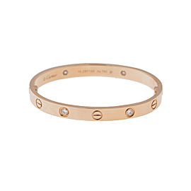 Cartier Love 18K Rose Gold Half Diamond B6036017 Bracelet Size 20