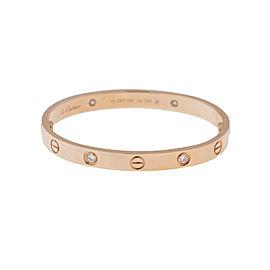 Cartier Love Bracelet 18K Rose Gold Half Diamond Size 18