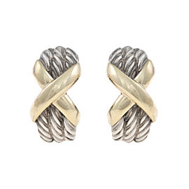 David Yurman Sterling Silver and 14K Yellow Gold X Earrings