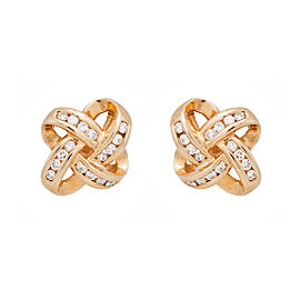 14K Yellow Gold 1.80ct. Diamond Ribbon Earrings