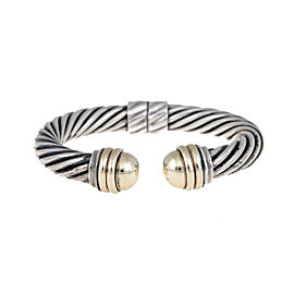 David Yurman Sterling Silver and 14K Yellow Gold Hinged Cable Bangle Bracelet